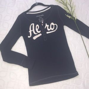 AEROPOSTALE Fitted Navy Blue Long Sleeve Top Large